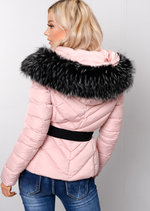 Quilted Faux fur Hooded Padded Belted Puffer Coat Pink
