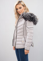 Quilted Faux Fur Hooded Padded Puffer Coat Grey