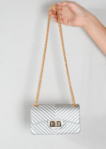 Quilted Gold Chain Clutch Bag Silver