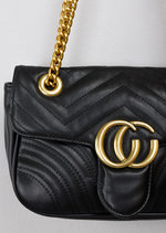 Quilted Gold Chain Shoulder Bag Black