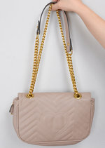 Quilted Gold Chain Shoulder Bag Pink