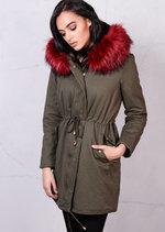 Red Faux Fur Hooded Fleece Parka Coat Khaki Green