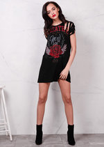 Red Rose Distressed Slogan T Shirt Dress Black