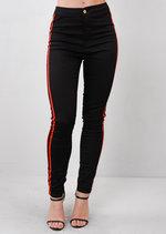 Red Side Stripe High Waisted Skinny Denim Jeans Black
