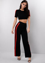 Red Side Stripe Tracksuit Crop Top Loungewear Set Black