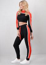 Red Stripe Crop Top Loungewear Set Co Ord Black