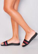 Red Stripe Flat Sliders Black