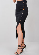 Ribbed Button Side Split Bodycon Midi Skirt Black