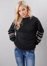 Multi Colour Fringe Embroidered Sleeved Sweatshirt Black