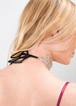 Ribbon Tie Back Diamante Choker Necklace Silver