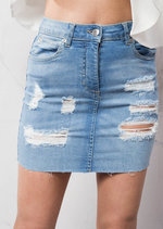 Ripped Mini Bodycon Denim Skirt Light Blue