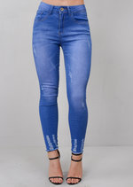 Ripped Skinny Fit Fringe Hem Denim Jeans Bright Blue