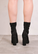 Round Heel Ankle Sock Boots In Lycra Black