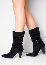 Ruched Faux Suede Heeled Ankle Boots Black