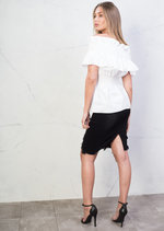 Ruffle Off Shoulder Bardot Top White