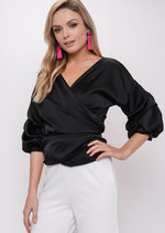 Ruffle Sleeve Satin Wrap Over Blouse Top Black