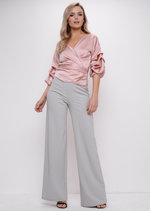 Ruffle Sleeve Satin Wrap Over Blouse Top Pink