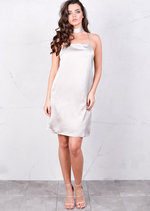 Satin Belted Meallic Silky Cami Spaghetti Strap Dress Grey Silver