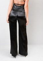 Satin High Shine High Waisted Wide Leg Trousers Black
