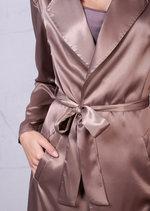 Satin Maxi Duster Coat Mac Trench Nude Beige