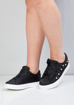 Satin Pearl EmbellishedFrill Trainers Black