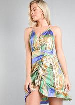 Satin Scarf Print Wrap Over Mini Dress Multi