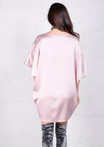 Satin Silk Oversized Kimono Dress Rose Nude