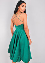 Satin Strappy V-Neck Midi Dress Green