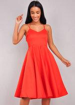 Satin Strappy V-Neck Midi Dress Red