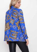 Scarf Animal Print Patterned Blazer Blue