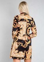 Scarf Print Button Front Blazer Dress Black