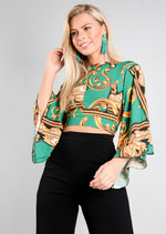 Scarf Print Flare Sleeve Tie Crop Top Green
