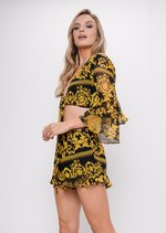 Scarf Print Top and Shorts Co Ord Set Black