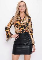 Scarf Print Wrap Bodysuit Multi Black