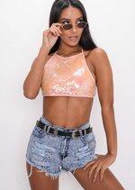 Sequin Halterneck Backless Crop Top Pink