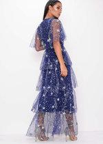 Sequin Star Tiered Frill Mesh Maxi Dress Blue
