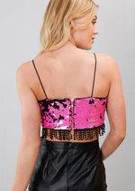 Sequin Strappy Crochet Trim Crop Top Pink