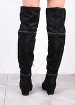 Shepherd Fur Wedge Over The Knee Foldable Long Boots Suede Black