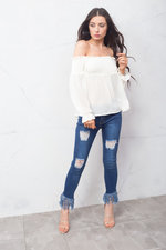 Shirred Long Sleeve Bardot Crop Top Off White