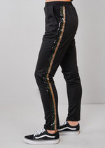 Green Side Stripe Sequin Tracksuit Trousers Black