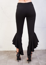Skinny Cropped Asymmetrical Frill Cigarette Trousers Black