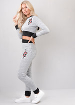 Snake Crop Top and Joggers Loungewear Set Grey