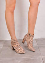 Nature Snakeskin Effect Ankle Boots Beige