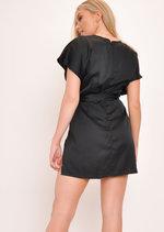 Split Side Tie Waist Mini Dress Black