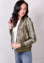 Sport Luxe Lace Bomber Jacket With Striped Sleeves Khaki Green