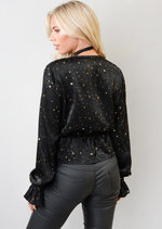 Star Sequin Plunge Satin Peplum Top Black