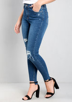 Step Hem Ripped Skinny Jeans Blue