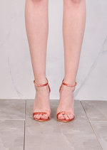 Strapped Barely There Heeled Sandals Crushed Velvet Rose Gold Pink