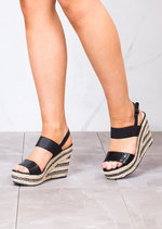 Strappy Espadrilles Platform Heeled Wedge Sandals Black