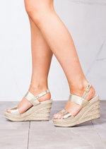 Strappy Espadrilles Platform Heeled Wedge Sandals Gold